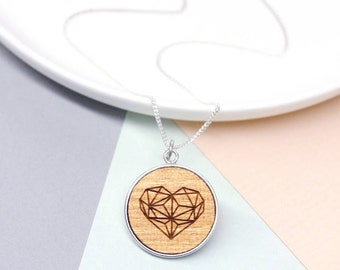 Geometric Heart Necklace, Silver Heart Necklace, Wooden Necklace, Minimalist Necklace, Minimalist Jewellery, Graphic Design, Romantic Gifts