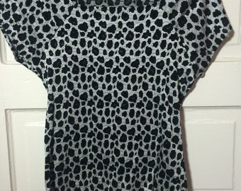 Vintage Spandex ish body suit type top leopard print