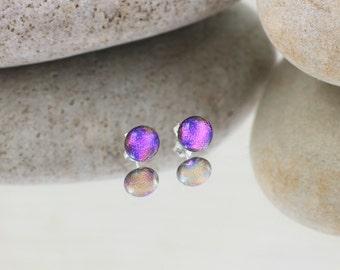 Fused Glass Stud Earrings - Cerise Pink - Dichroic Glass Earrings -  Dichroic Glass.  JBT140