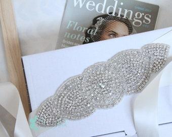 Stunning Alexander Ivory Crystal Bridal Sash/Belt