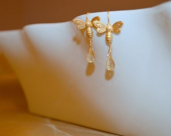 Bee Mine Citrine Drop Earrings - Gold plated