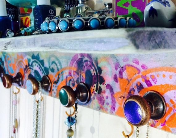 floating shelves pallet wood Wall hanging storage jewelry shelf /makeup organizer  shelving storage stenciled paisley 5 knobs 4 orange hooks
