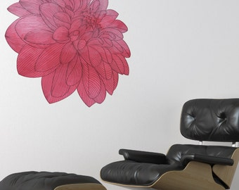 Watercolor Peony Removable Wall Decal