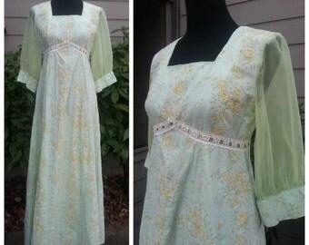 60s Renaissance Dress Light Green and Yellow Floral Sheer Sleeves Festival Boho Hippie Long Dress S