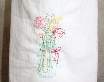 Embroidered Flour Sack Towel with Mason Jar and Flowers