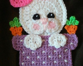 Crochet Bunny In A Vase Potholder Pattern Only