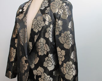 Vintage brocade blazer black and pewter boxy jacket 1980s 80s medium large Mister Leonard