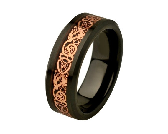 unique mens wedding band celtic rings ceramic by simplenunique. Black Bedroom Furniture Sets. Home Design Ideas