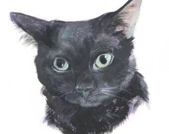 """8x10"""" // Custom Cat Portrait // Original Gouache Painting on Archival Watercolor Paper"""