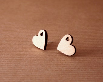 Wooden Heart Earrings Valentines Day Present. Laser cut earrings. Stud earrings. Wooden earrings.