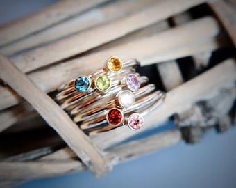 Sterling Silver Gemstone Ring / Amethyst / Topaz / Rose Quartz / Peridot / Garnet / Tourmaline / Citrine / Sicking Ring
