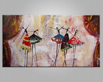 Original Art Ballet Dancers Painting Wall Art Canvas Art  Framed Art Abstract Art Impasto Texture Painting Palette Knife Oil Painting