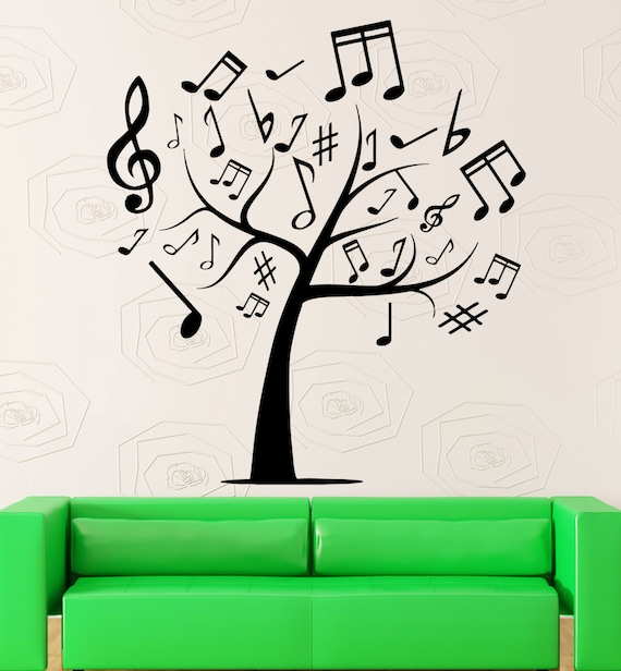 Cool Music Wall Decor : Items similar to vinyl decal wall sticker abstract music