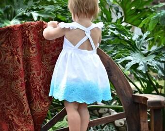 Iris - Little Girls Party Dress Dip Dyed