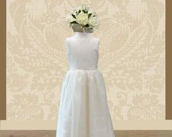 Ivory Flower Girls Dress in Duchess Satin with organza overlay on skirt