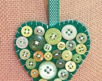 Hanging 'Emerald Isle' Felt Heart & Button