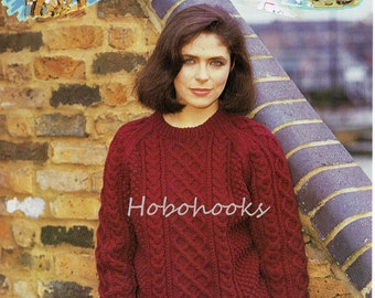 Womens Knitting Pattern , aran sweater , cable crew neck sweater-32 to 44 inch bust-Aran yarn- Womens Knitting Pattern -PDF instant download