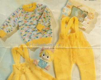 baby knitting pattern pdf baby skirt with braces sweater trousers with braces baby set newborn rompers 16-22 inches DK instant download