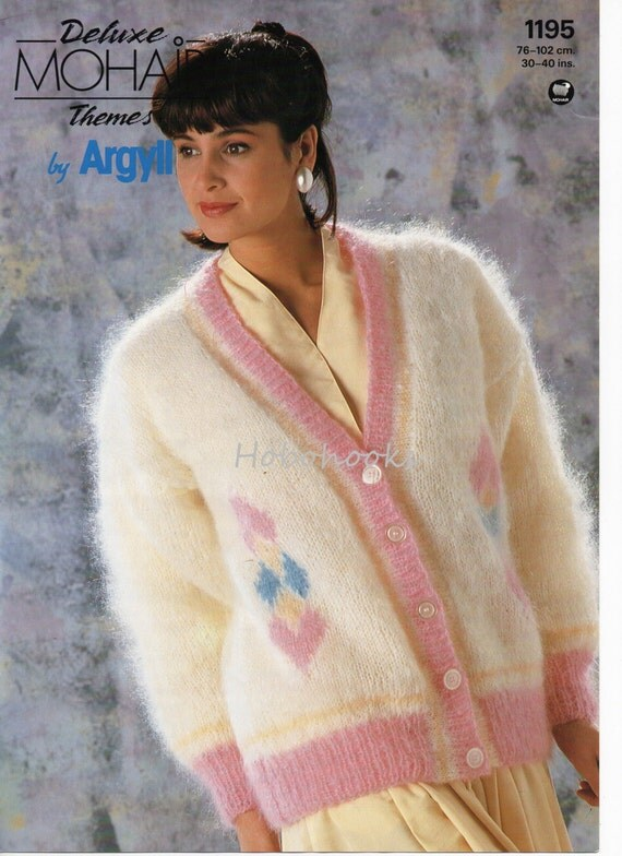 Knitting Pattern Mohair Jacket : Womens Knitting Pattern Womens Mohair Cardigan V Neck by Hobohooks