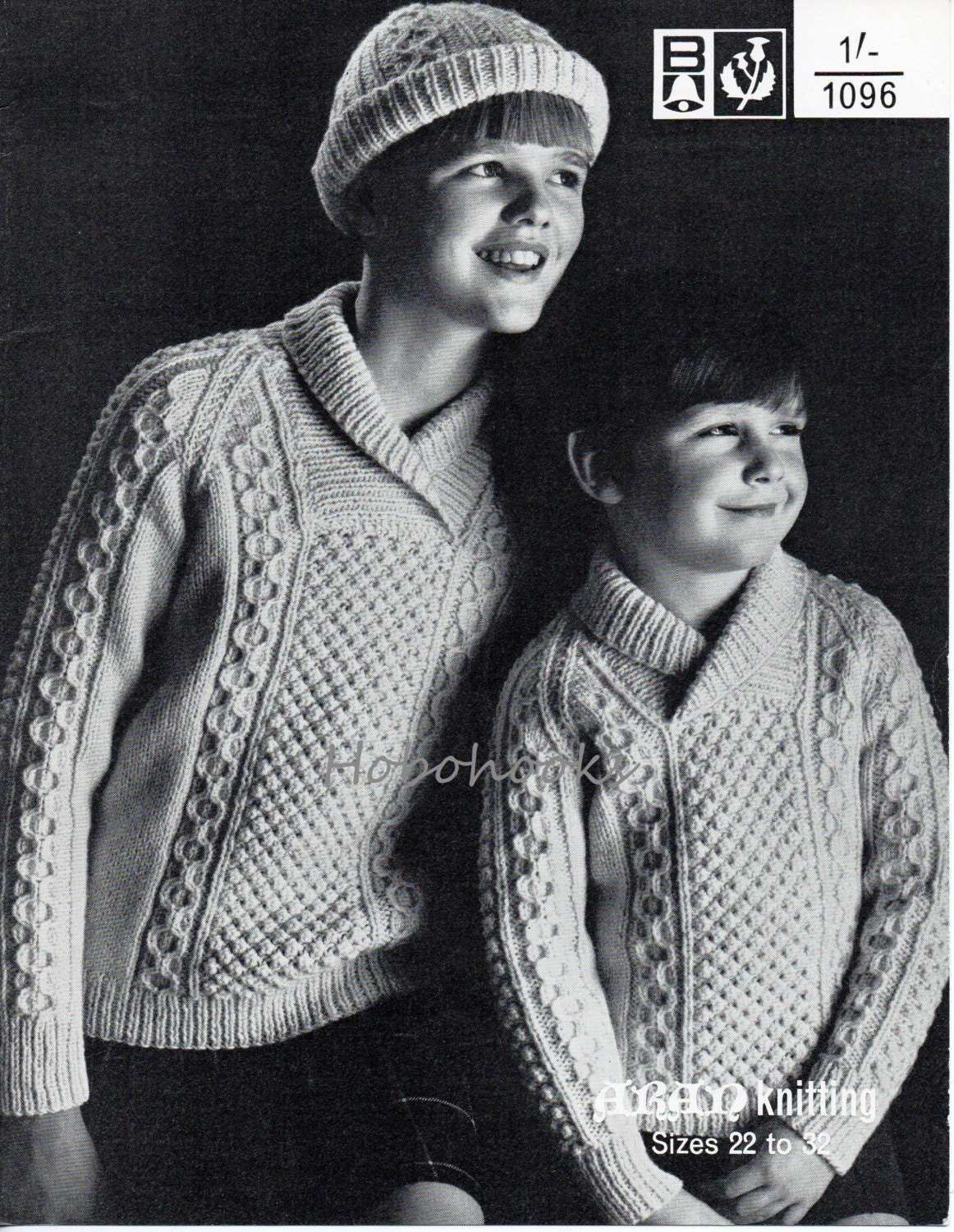 Childs Aran Jumper Knitting Pattern : Childs / childrens aran sweater hat knitting pattern PDF cable
