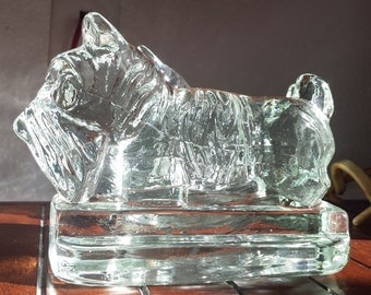 Vintage Glass Scottie bookends, clear glass, Scotty dog bookends, Vintage bookends, set of two, heavy glass bookends, scotty dog, Art Deco