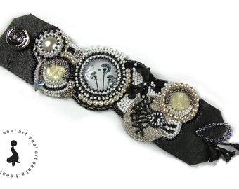 GARDEN OF FAIRIES - bead embroidery bracelet with real Leather