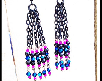 Chic Black Chain Metallic Crystal Beaded Earrings-Hot Pink & Navy Hipster Gift