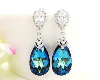 Bermuda Blue Earrings Swarovski Crystal Teadrop Earrings Wedding Jewelry Bridesmaid Gift Bridal Earrings Blue Earrings (E150)