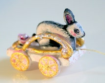 Easter Doll House miniature 1:12 pull toy Bunny Bunny toy for bear and Doll carriage