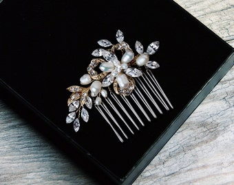 Pearl Hair Comb, Crystal Bridal Hair Comb, Wedding Hair Comb, Bridal Headpiece, Bridal Hair Jewelry, Silver Hair Comb, Gold Hair Comb