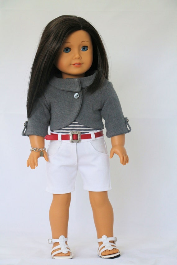 American Girl Doll Clothes,Fits 18 inch Dolls,  Grey Jacket, White Shorts, Striped T-shirt, Belt and Bracelet