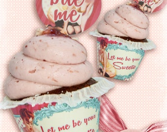 Cupcake Wrappers Valentines day, Digital Collage Sheet, Instant Download