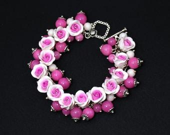 Polymer clay bracelet Floral bracelet Bangle Bracelet Floral jewelry Charm bracelet Polymer clay jewelry Pink bracelet Fashion jewelry Gift