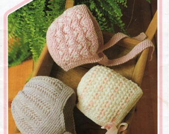 Baby Knitting Pattern Baby Hats Baby Helmets Baby Bonnets Newborn - 2 Years DK Baby Hats Knitting Patterns PDF Instant Download