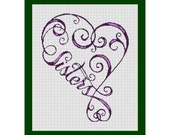 Sisters Fancy Word Cross Stitch Pattern in PDF for Instant Download