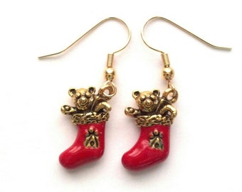 Red Christmas Stocking Earrings - Red Christmas Earrings - Red Christmas Jewelry - Holiday Earrings - Holiday Jewelry - Epsteam