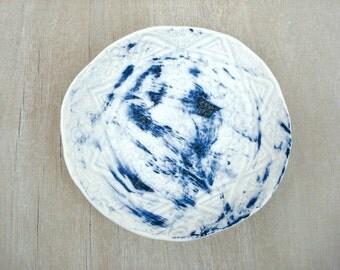Lace ceramic plate, porcelain lace dish, lace plate, blue porcelain, ceramic lace dish, jewelry dish, lace ceramic platter, blue plate