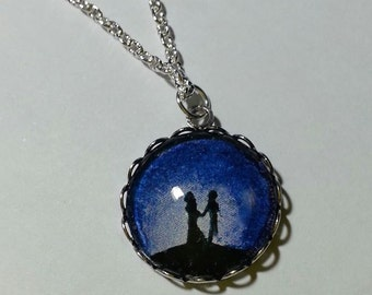 "Necklace ""Blue Walk"" handmade painting with acrylics"