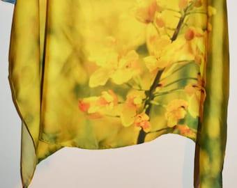 yellow flower field original photo print scarf