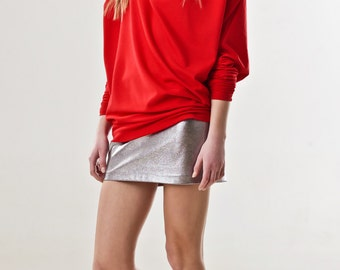 Red asymmetric jersey oversized pullover DELPHINE - extra long sleeves - wide loose fit - spring summer - black