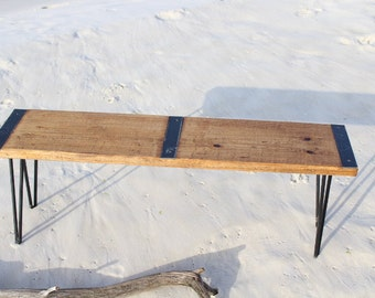 Reclaimed wood bench, industrial bench, vintage bench, Industrial furniture, urban bench, reclaimed, urban, vintage, hairpin legs