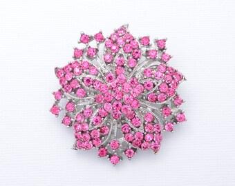 Pink Rhinestone Brooch Pink Bridal Brooch Crystal Wedding Brooch Pink Brooch