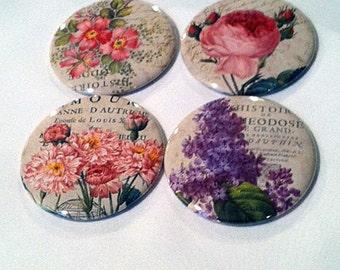 Set of 4 English Garden Pocket Mirrors, Bridesmaid gift, Wedding favor, Shower gift, Compact Mirror, Small gift