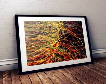 Instant download photography, Home Decor, Light painting, Red, Green and Yellow Abstract lines, Modern Art Wall decor, Downloadable Digital