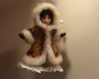 Needle felted doll, Waldorf inspired, Wool Christmas Eskimo, Art doll, Home decoration, Christmas decor, Winter