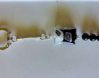 Black and White Beaded Keychain