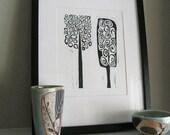 "Linoleum Block Print - Black & White Minimalist Print - MOD TREES 3 - Mid Century Decor 8""x10"" - Ready to Ship"