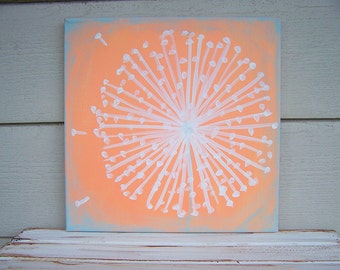 Dandelion Painting -Acrylic Painting-12x12-Rustic Nursery Painting-Shabby Chic Nursery Wall Decor-Distressed Painting-Coral -Sky Blue