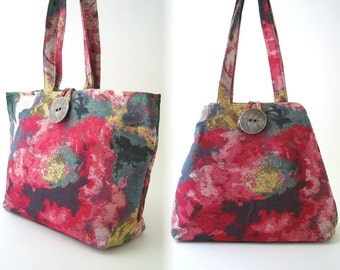 Hobo bag converts to Large tote bag  , fabric handbag, shoulder bag, pink bag, hobo bag, diaper bag, laptop bag