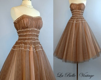 50s Strapless Ombre Prom Dress S ~ Vintage Mocha Tulle ~ Sparkling Sequin Trim